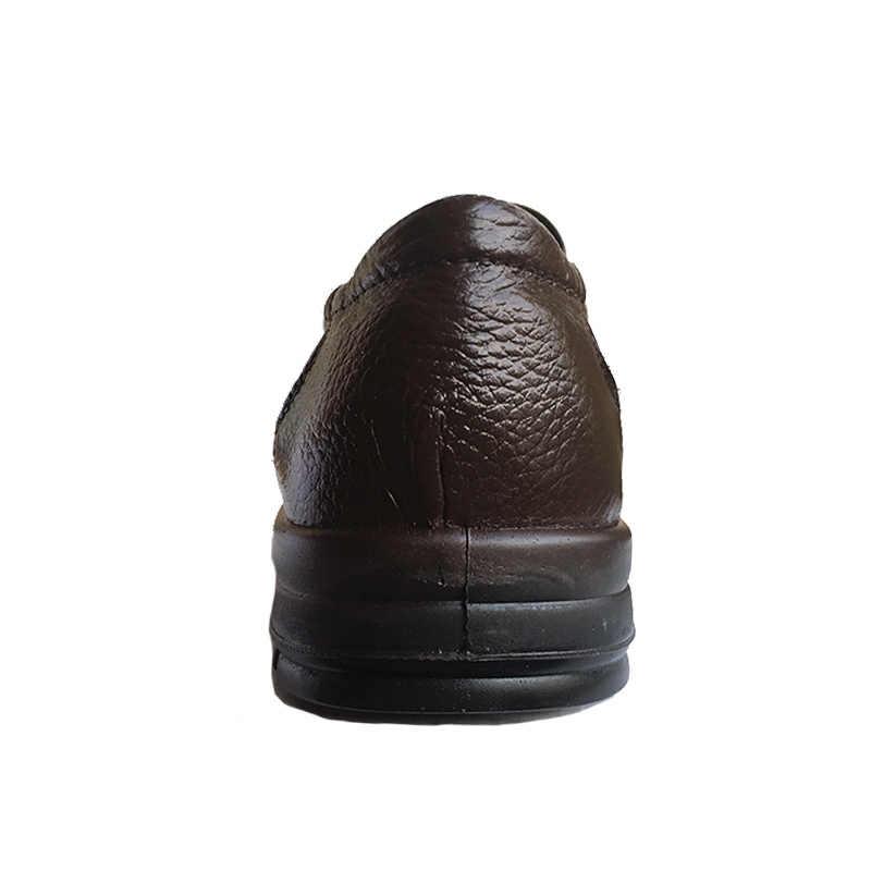 גברים נעלי עור אמיתיים מותג הנעלה נעליים מזדמנים גברים אופנה בלעדי החלקה עבה זכר עור פרה באיכות גבוהה K059