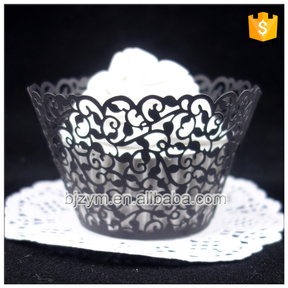 Top 1 Seller Vine Design Laser Cutting Black Paper Pastry Kitchen Accessories Chocolate Cakes Wraps Cupcake