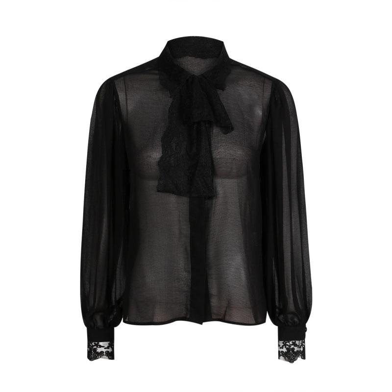 HDY Women Black Sheer Blouse Shirts Lantern Sleeve Bow Tie Lace up Sexy Lady Shirts Bowknot Elegant Female Tops Blusas Femininos 11