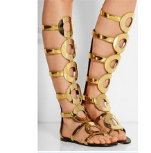 Gold Leather Circle Cut Outs Summer Sandals Boots Flats Knee High Boots Gladiator Sandals Women Boots Ladies Shoes Woman Botas