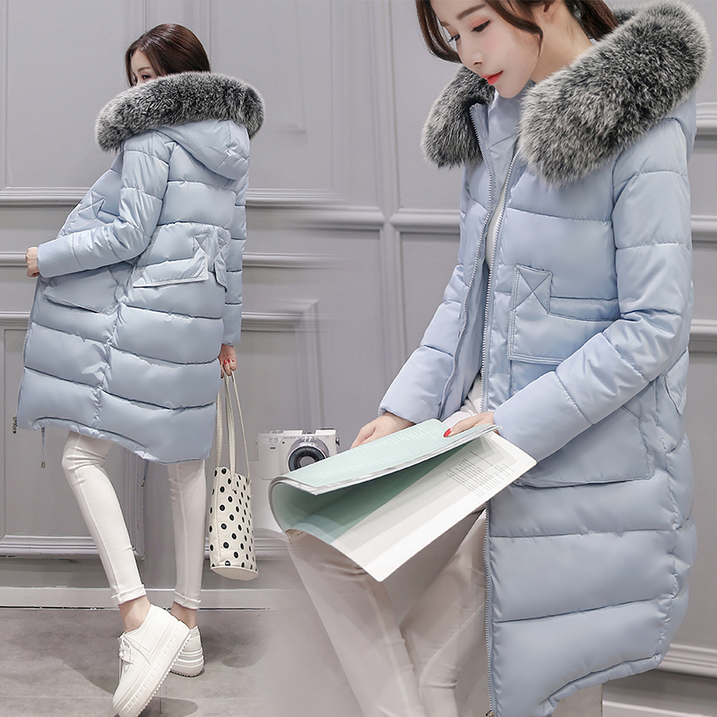 2017 Korean version of the long section of thick cotton down jacket loose wool coat collar female large size coat 2017 winter in the long section of the cotton men korean version of the loose hong wind thickening of large yards of clothing