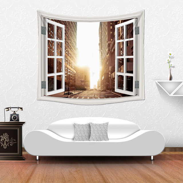 PEIYUAN 2017 New Design Fake Window Wholesale Factory Custom Made Home  Decorative Wall Tapestry