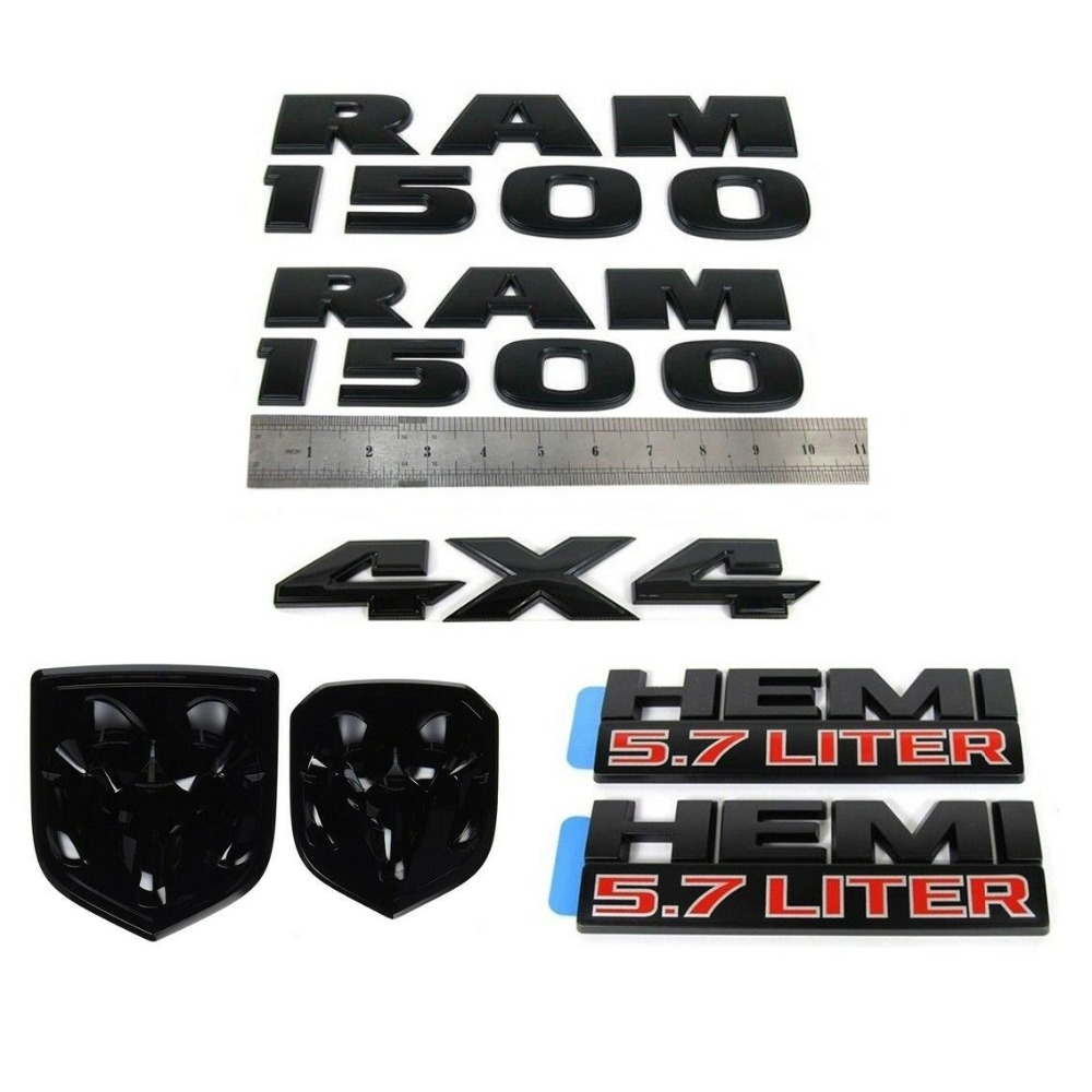 7 pièces RAM 1500 4X4 Grille hayon 5.7 litre HEMI emblème Badge pour Dodge noir mat