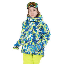 -30 Degree Winter Kids Waterproof Ski Jacket Thick Camouflage Warm Snowboarding Jacket for girls and boys Windproof Breathable