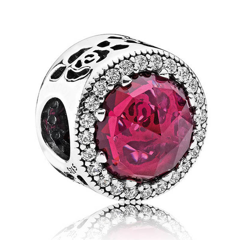 New button 925 Sterling Silver Bead Charm Belles Radiant Rose With Mix Crystal Beads Fit Pandora Bracelet Bangle Diy JewelryNew button 925 Sterling Silver Bead Charm Belles Radiant Rose With Mix Crystal Beads Fit Pandora Bracelet Bangle Diy Jewelry