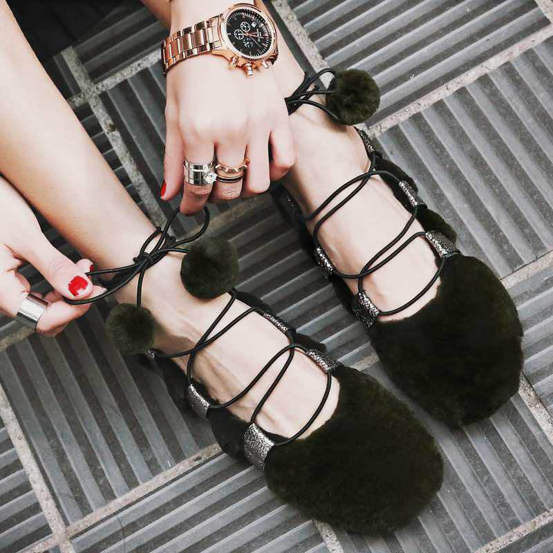 ФОТО New Fashion Women Brand Spring Shoes Bowtie Ballet Flat with Ankle Strap Rabbit Hair Genuine Leather Elegant Casual Women Shoes