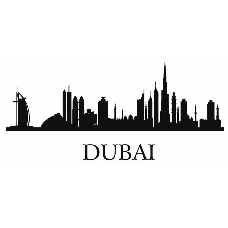 Online Shop DUBAI City Decal Landmark Skyline Wall Stickers Sketch - Wall decals dubai