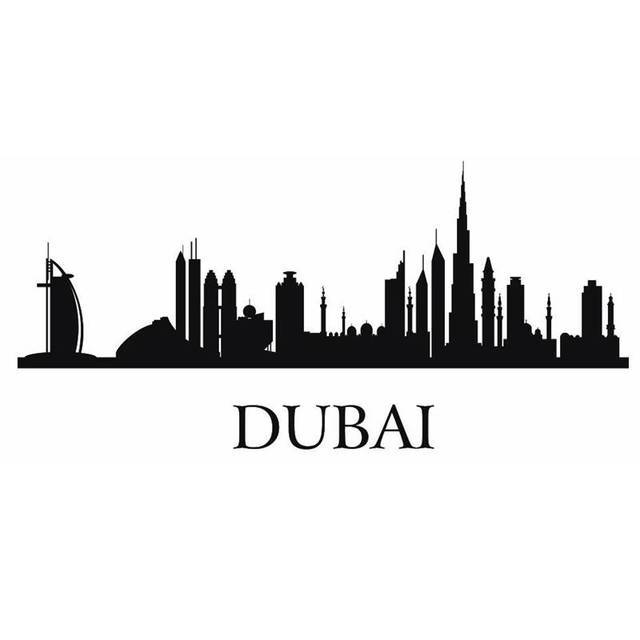 Dubai city decal landmark skyline wall stickers sketch decals poster parede home decor sticker