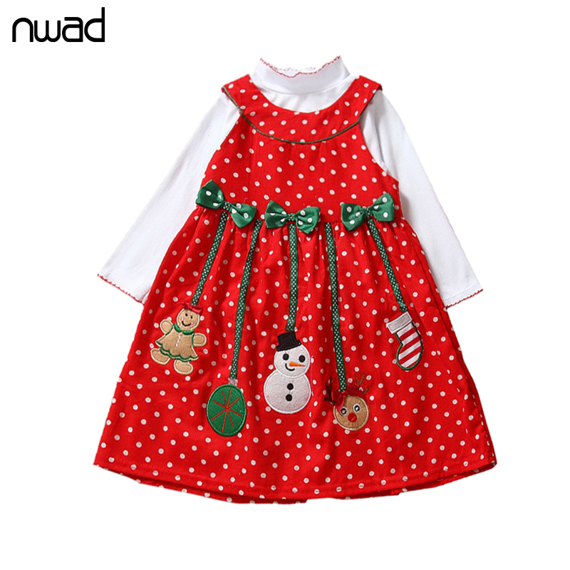 Baby Girl Christmas Dresses 2017 New Wave Point Clothes Set For Newborn Baby Kids Long Sleeve T Shirt +Dorduroy Bow Dress FF175