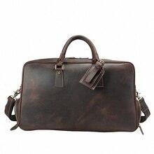 Vintage Crazy Horse Genuine Leather Travel bag men duffle bag luggage travel bag Large Weekend Bag Overnight Tote LI-1828