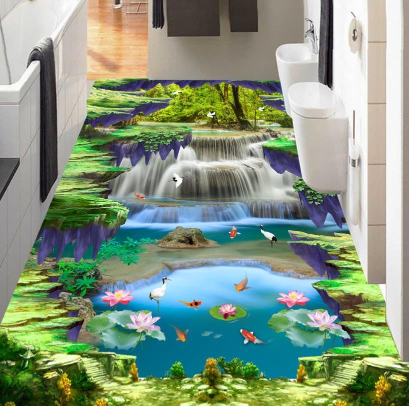 Self-adhesive Wallpaper 3d Floor Waterfall lotus carp Custom Photo 3d Floor Bathroom Self-adhesive PVC Waterproof Wallpaper