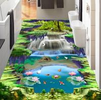 Self adhesive Wallpaper 3d Floor Waterfall lotus carp Custom Photo 3d Floor Bathroom Self adhesive PVC Waterproof Wallpaper