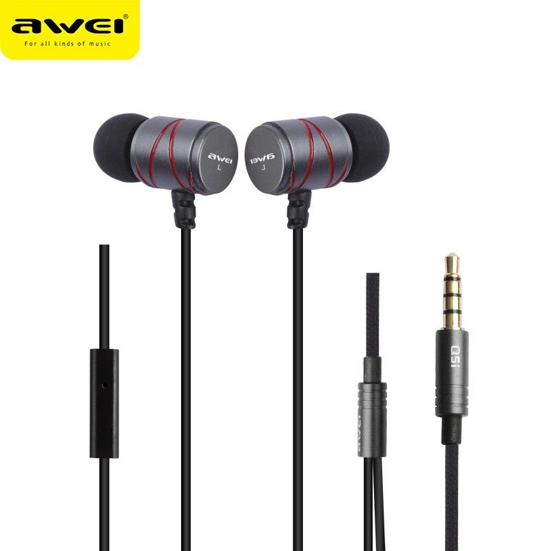 AWEI Q5I Metal Cable de Auriculares Super Bass en la oreja los Auriculares Fone de ouvido Kulaklik Auriculares estéreo audífonos écouteur con micrófono