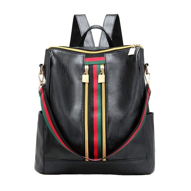 ผู้หญิงแฟชั่นStreet Solidกันน้ำซิปกระเป๋าสะพายกระเป๋าเป้สะพายหลังผู้หญิงหญิงCasual Travelกระเป๋าเป้สะพายหลังหนังPU
