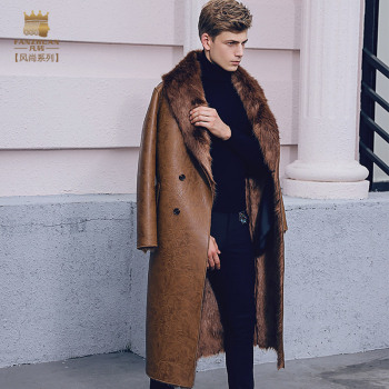 fashion male Men's slim warm coat winter Fur thickening PU leather velvet