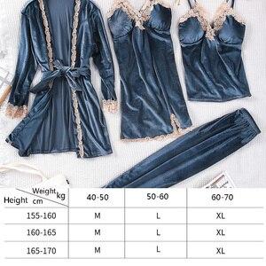 Image 2 - Queenral 4PCS חורף פיג מה סטים לנשים הלבשת הלבשה תחתונה פיג זהב קטיפה חם פיג מות סקסי תחרה חלוק פיג מה Nightwear