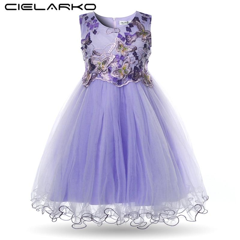 005a0ea20306aa5 Cielarko/платье для девочек Детские Платья с цветочным рисунком бабочка  аппликации сетки вечернее на день