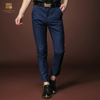 Free Shipping New Fashion Male Men S Casual Personality Plaid Pants Feet Slim Pantyhose Youth Summer