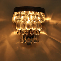 Лофт Промышленные блеск европейский стиль дворца гладить стекла, хрустальные бра E14 светодиодный бра настенный светильник современный для