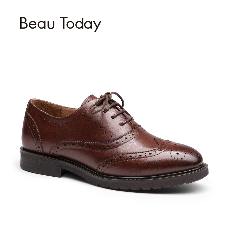 Beau Genuine Leather Women Brogue 2017 Fashion Spring Autumn Round Toe Brush Leather Oxford Ladies Shoes