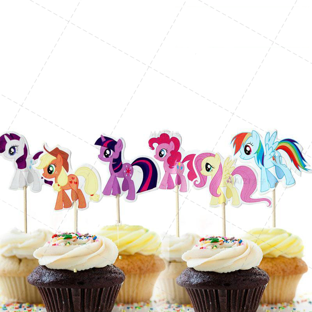 24 Pcs Lot Cartoon Sea Horse Cake Topper Birthday Decoration Baby Shower Kids Party Wedding Favor Supplies