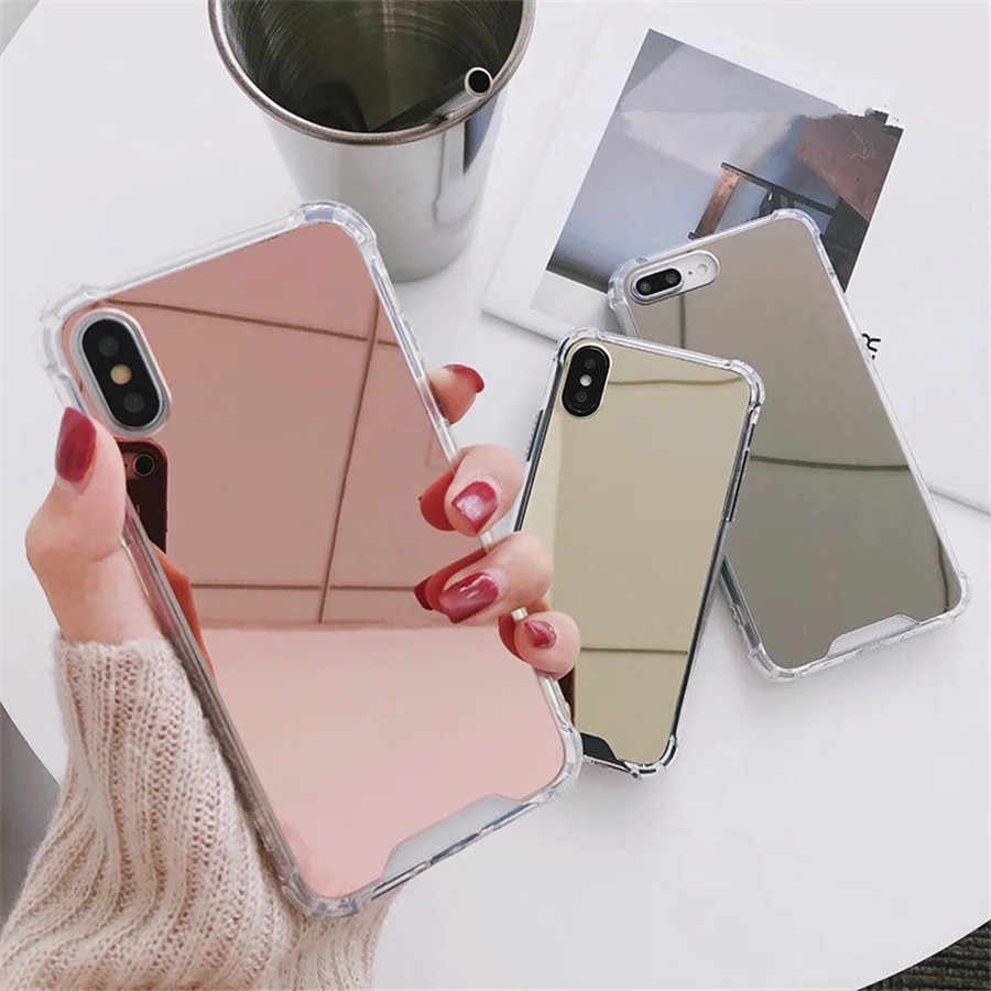 Luxe Spiegel Telefoon Gevallen Voor iphone 7 7 Plus Case Voor iphone X 6 6 s 8 Plus COOL Girl TPU + PC Back Cover Anti-klop Beschermen