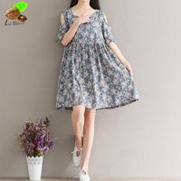 2018 New Women Mori Printed Floral Cotton Brand Dresses Girls Cute Strapless Plus Size Casual Dress