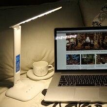 LED ekran ile dim Masa Lambası Masa Lambası Taşınabilir LED okuma lambası Takvim Saat Ile Esnek Modern ofis lambası