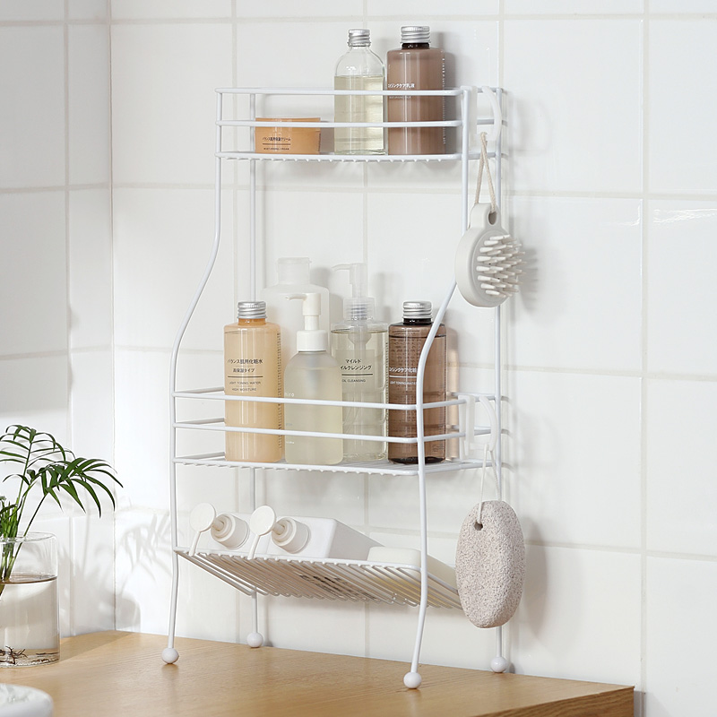Bathroom vanity shelf rack floor landing Bathroom iron shelf double shelf bathroom storage LO516409