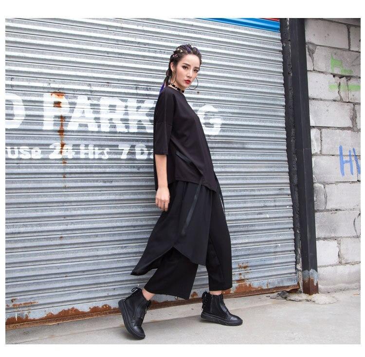Y 今週の割引 春の新スプリットスカート非対称パンツ女性カジュアルシフォンパッチワークアンクル丈パンツ Demo 6
