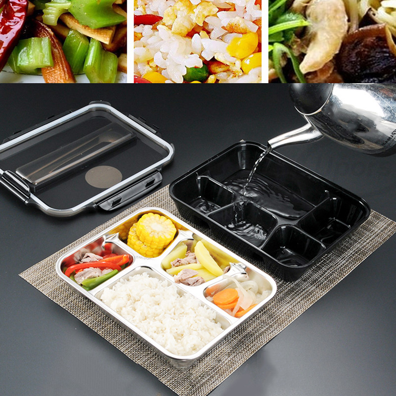 Leakproof Lunch Box Food Containers with Compartments 304 Stainless Steel Lunchbox Office School Kids Bento Box with Spoon