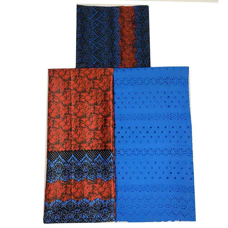 Mousseline de soie de satin d'impression de cire africaine de haute qualité avec le tissu de dentelle de cordon tissu imprimé par anakra pour la robe de femmes