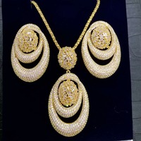 GODKI New Luxury Exclusive Circle Necklace Earring Sets For Women Wedding Bridal Cubic ZirconDubai High End Jewelry Set 2019