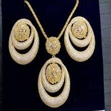 GODKI Conjunto de collar y pendientes de circonia cúbica para mujer, juego de joyería de alta gama, zirconia, circonita, zirconita, boda, boda, 2019