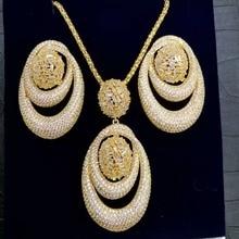 GODKI nowy luksusowy ekskluzywny naszyjnik z ogniwami w kształcie kół zestawy kolczyków dla kobiet Wedding Bridal Cubic ZirconDubai High End Jewelry Set 2019