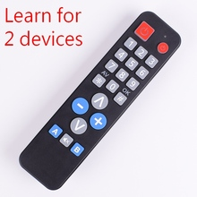 2 devices universal Remote Control with learn function, copy IR code for TV VCR STB DVD DVB,TV BOX, Easy for old people.