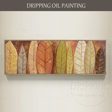 Artist Hand-painted High Quality Leaves Oil Painting on Canvas Long Size Colorful Leave for Living Room