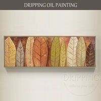 Artist Hand painted High Quality Leaves Oil Painting on Canvas Long Size Painting Colorful Leave Oil Painting for Living Room