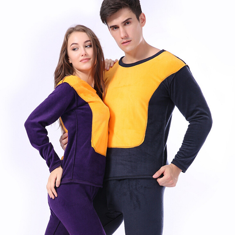 Long Johns Men Women Fleece Thermal Underwear Set For Couple Thermo Underwear Winter Wool Velvet Clothes Ropa Mujer Invierno
