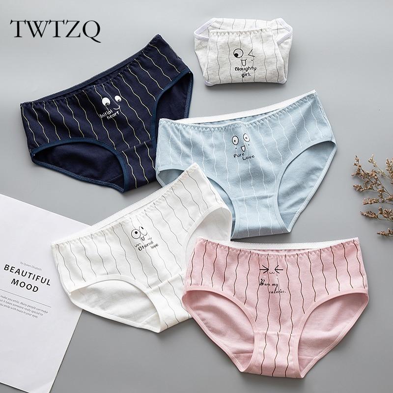 TWTZQ Women's Panties Cute Expression Printed Female Briefs Cotton Girl Lingerie Sexy Fashion Underwear Women Intimates