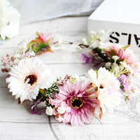 HIYON High Grade Bride Hair Accessories Flower Crown Wedding Handmade Headband For Wholesale Artificial Flower Party Headdress