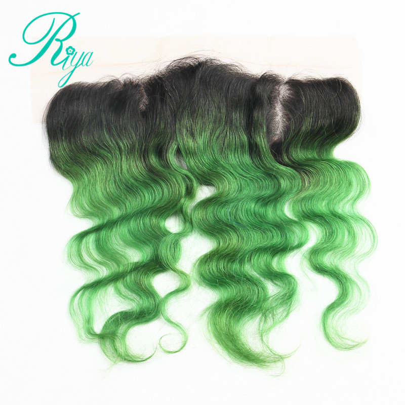 Riay Hair 1b Ocean Blue Ombre Brazilian Body Wave Hair 13x4 Lace Frontal Ombre Closure Black Root Remy Hair Human Hair Weaves