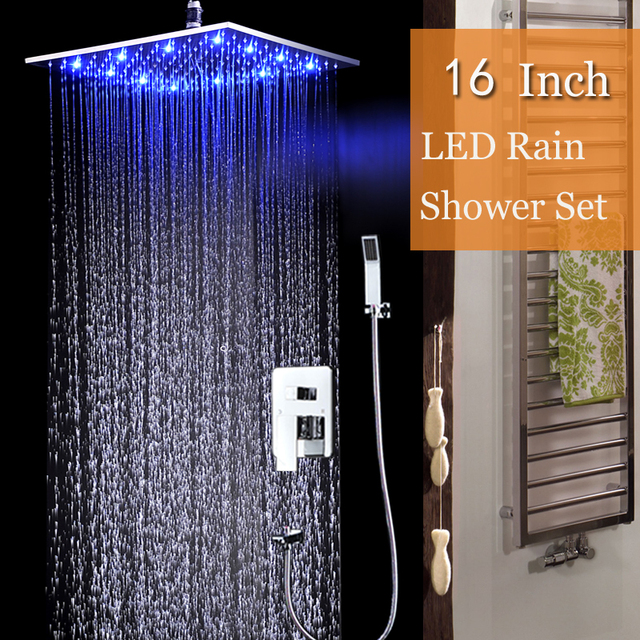 Attractive LED Big Rain Shower Set Ceiling Mounted Water Temperature Led Shower Head  Brushed Finish Concealed Shower