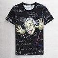 T-shirt para o menino da ciência da matemática Gráficos 3d t shirt homens engraçado impressão Einstein t-shirt tops casuais