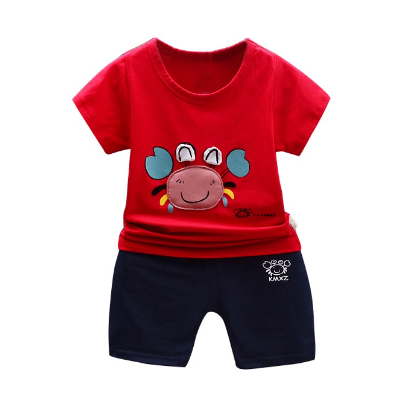 Summer Baby Sets Cute Boys Girls Crab Print Short Sleeve Pants Two Pieces Casual Suit New Arrival Kids Baby Clothes