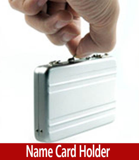 Novelty Mini Briefcase Business Card Holder, Classic Aluminum Briefcase Design Name Card Holder