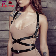 Fullyoung Creative Sexy Harness Women Fashion Body belt Suspenders Straps Leather Chest Belthigh quality