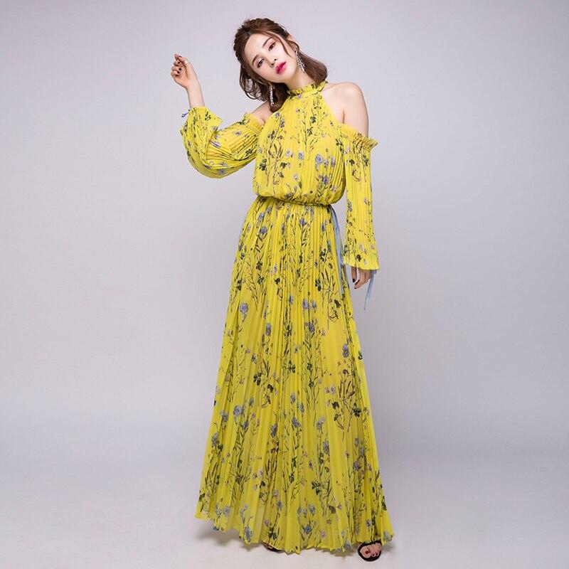 e919cee59b4 Bohemian Women Self Portrait Dress 2018 Summer Off shoulder Floral Print  CHiffon Pleated Maxi Dress Yellow ...