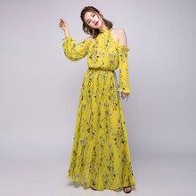 cde38de53b42 Bohemian Women Self Portrait Dress 2018 Summer Off shoulder Floral Print  CHiffon Pleated Maxi Dress Yellow ...