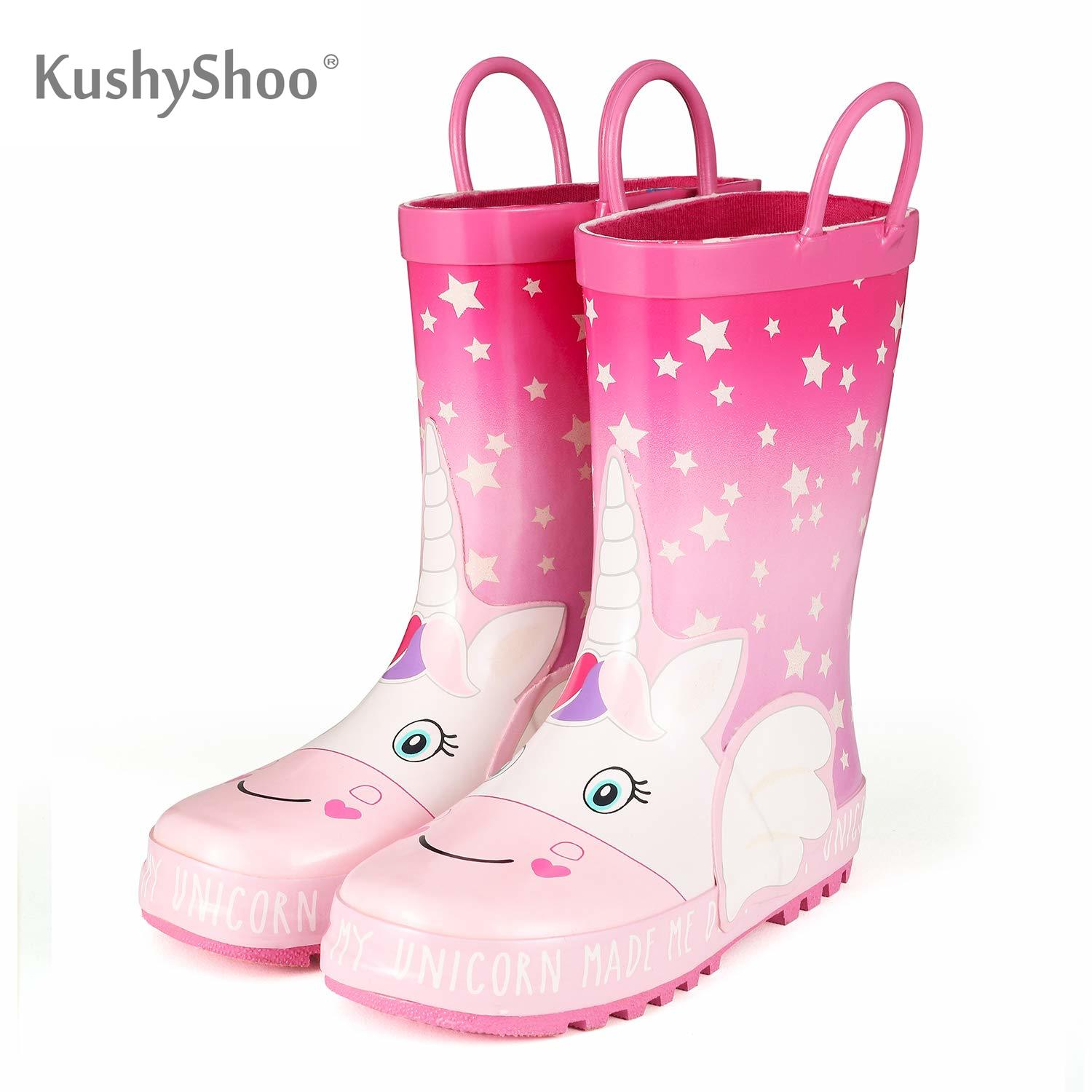 KushyShoo Rubber Boots Children Boots For Girls Kids Cartoon Rainboots Candy Color Star Unicorn Antiskid Rain Boots Toddler